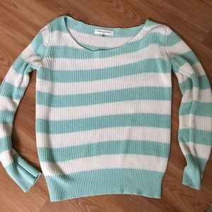Mint and white striped sweater